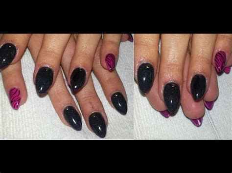 pattern powder nails diy neon pink acrylic powder black pink almond nails