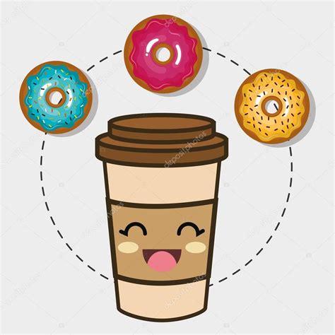 imagenes de rosquillas kawaii caf 233 y donut kawaii dibujos animados vector de stock