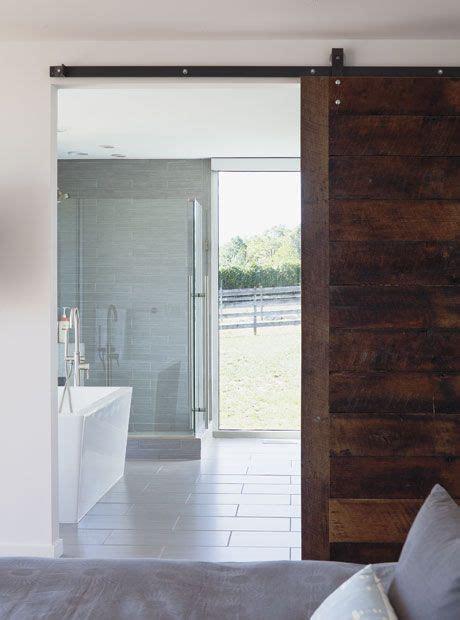 sliding bathroom barn door say yes bed and bath