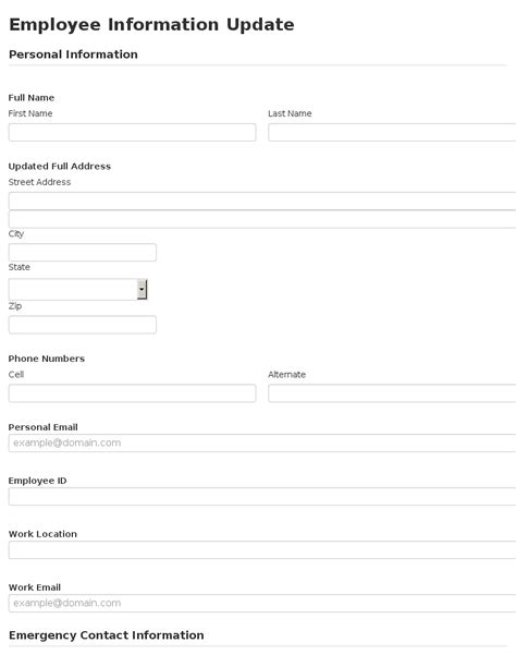 update contact information form template employee information template anuvrat info