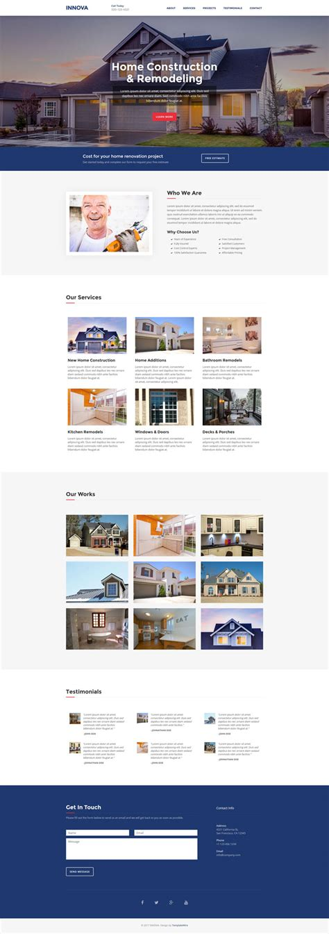 Free Construction Website Templates Bootstrap Innova Free Construction Website Template Bootstrap Templates