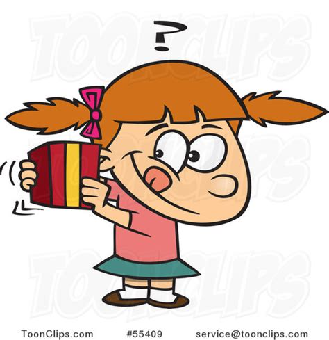 Exceptional Christmas Presents Clipart #6: Cartoon-girl-trying-to-guess-a-gift-by-toonaday-55409.jpg