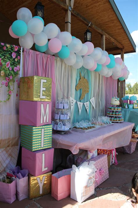 Baby Shower Backdrop by Unicorn Baby Shower Backdrop With Baby S Name On Blocks