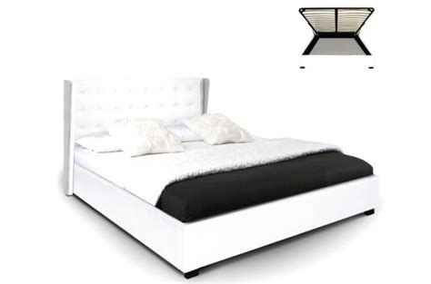 lit coffre simili cuir blanc rabatya 140x190 cm lit