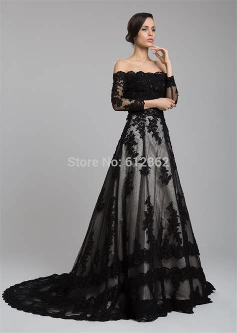 Black dress with long train   Dress on sale
