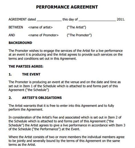 performance agreement template artist contract templates 9 free documents in pdf