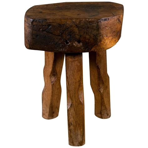 carved wood stool primitive and rustic carved wooden stool or side