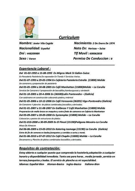 Modelo Curriculum Camarero Pin Curriculum Vitae 2011 Espanol On