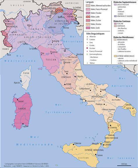 d italiaã carte des langues d italie