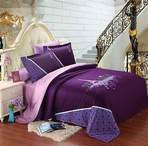 paris bedding set full unique purple eiffel tower paris design full queen duvet