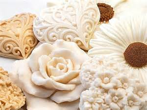 decorative gift soap blooming beige hearts and flowers
