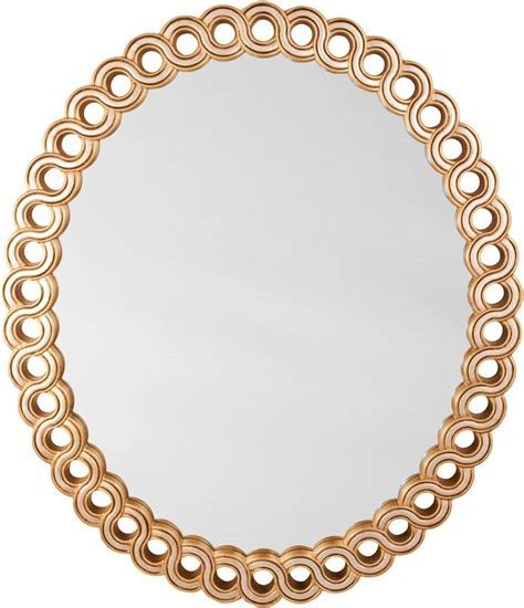 gold mirror pattern oval mirror with interlocking frame pattern with silver