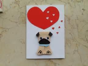 origami pug origami pug birthday card handmade card for pug card