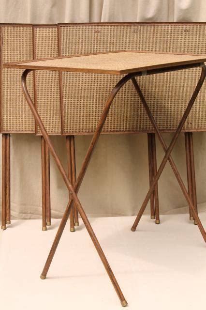 50s 60s vintage TV tables, retro metal folding table set w