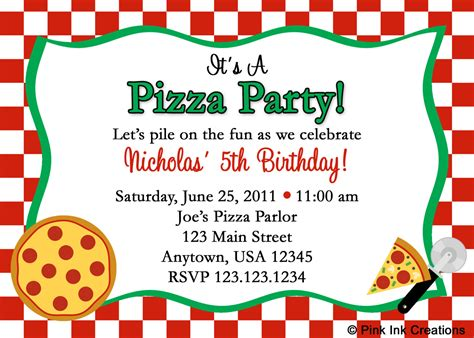 Pizza Birthday Card Template by Pizza Invitations Free Invitations Templates