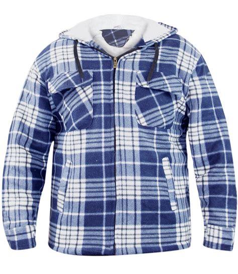 Print Fleece Lined Hoodie new mens sherpa fleece lined check print faux fur jacket