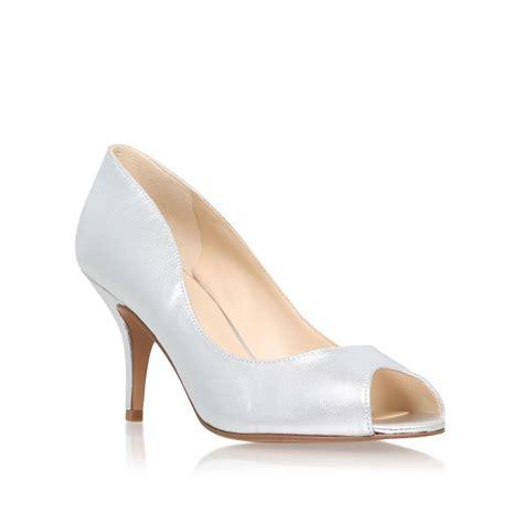 silver peep toe mid heels is heel