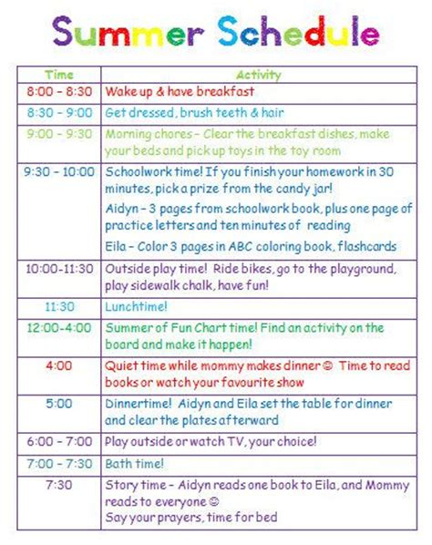 Giving Kids A Schedule For Playtime Chores And Summer Homework I Would Really Love To Be Able Free Summer C Schedule Template