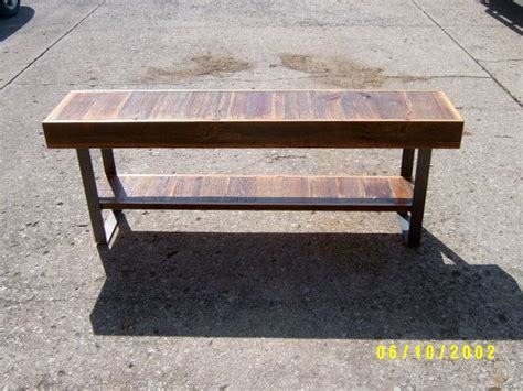 Industrial Entry Table by Industrial And Steel Bench Entry Table Barnwood Steel Legs 60 Quot