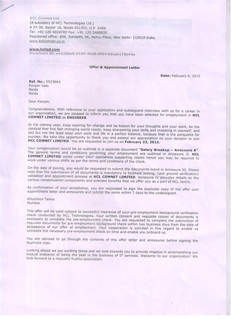 appointment letter hcl labor resume objective mri technician resume sle sle