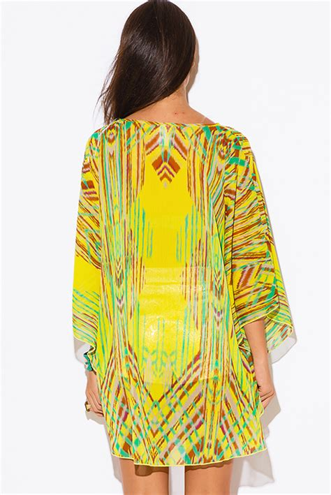 Mini Dress Bohemian Import Yellow Mixed Size S 308077 shop wholesale womens plus size yellow abstract ethnic print sheer chiffon boho tunic top mini dress