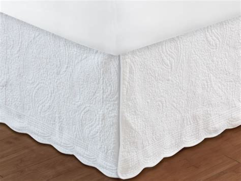 white ruffle bed skirt white paisley quilted bedskirt ruffle
