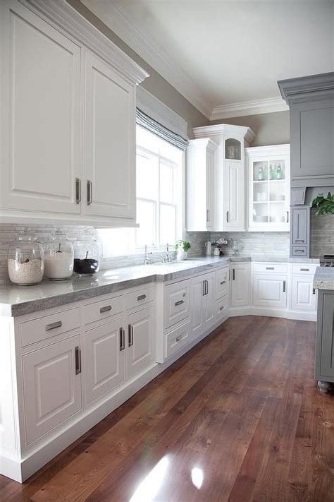 white and grey kitchen ideas this is beautiful love the corner cabinet as well gray