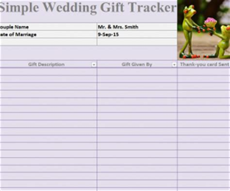 Gift Card Tracker - simple wedding gift tracker 187 template haven