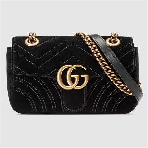 Tas Mini Bag lyst gucci gg marmont velvet mini shoulder bag in black