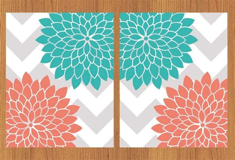 grey wallpaper with teal flowers floral flower burst coral teal grey chevron wall art