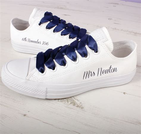 Wedding With Converse by Custom Wedding Converse With Navy Satin Laces Wedding