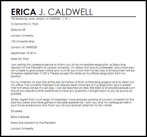 Immediate Resignation Letter   Resignation Letters