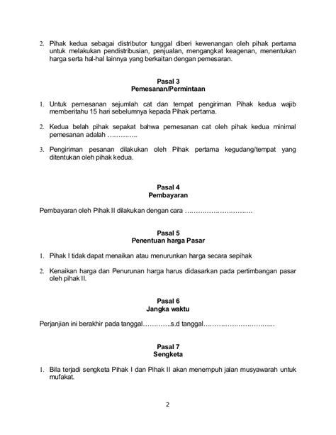 surat perjanjian distributor