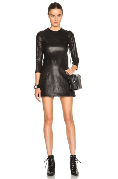 theperfext harlem stretch leather mini dress in black lyst