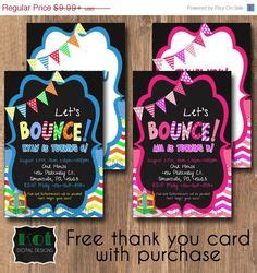 bounce back card template jump troline park birthday invitation parks