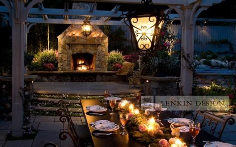 outdoor dining table lighting traditional landscape