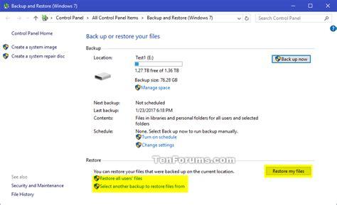 tutorial restore windows 10 restore windows backup in windows 10 windows 10 tutorials