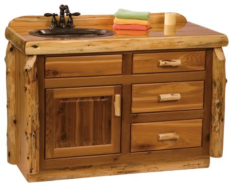 Bathroom Vanity With Center Sink Cedar Vanity Without Top Sink Center 4 Rustic Bathroom