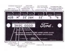Ford Truck Vin Decoder 1965 Ford Vin Number Location Get Free Image About