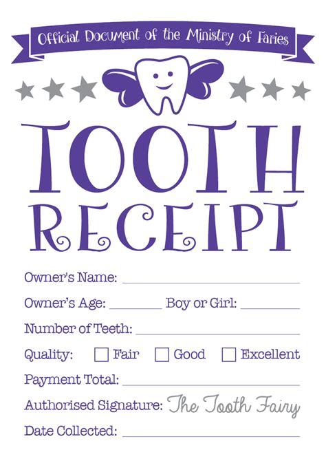 tooth receipt template tooth certificate baby hints and tips