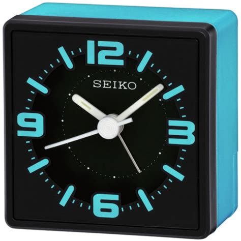 Bedside L With Clock by Seiko Analogue Bedside Alarm Clock Blue Qhe091l Sustuu