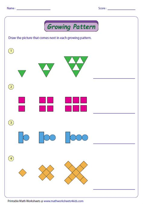 increasing pattern worksheet pattern worksheets