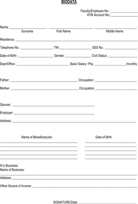 biodata in exles bio data form for excel pdf and word