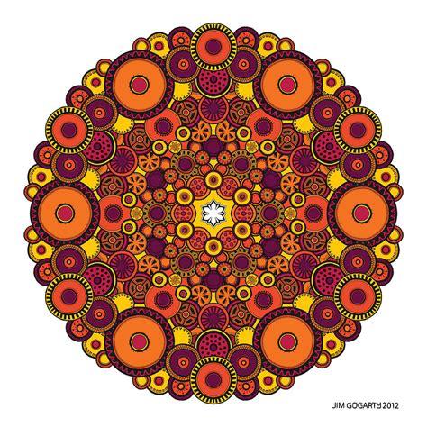 Mandala 37 Drawing Coloured V1 Drawing by Jim Gogarty