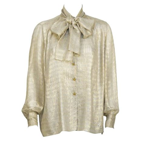 Blouse Chanel Flowers 1980 s chanel gold silk sheer blouse with bow at 1stdibs