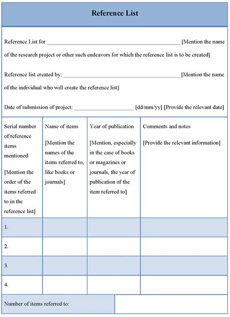 reference list template list template for reference format of reference list