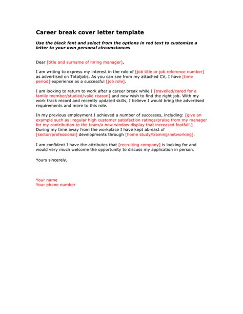 career break cover letter template in word and pdf formats