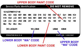 gm colour guide car code plastikote paint products