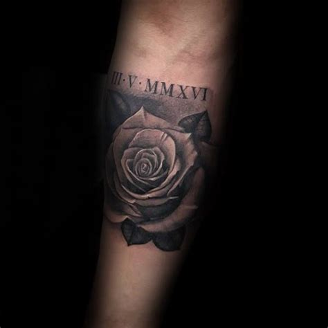 rose tattoo one of the boys 100 numeral tattoos for manly numerical ink