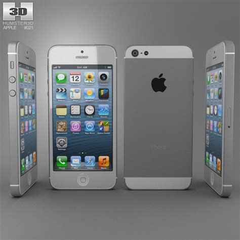 apple iphone 5 white 3d model electronics on hum3d